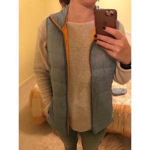 Eddie Bauer vest, blue with orange lining, compact